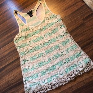 Rue21 teal and cream striped, lace tank